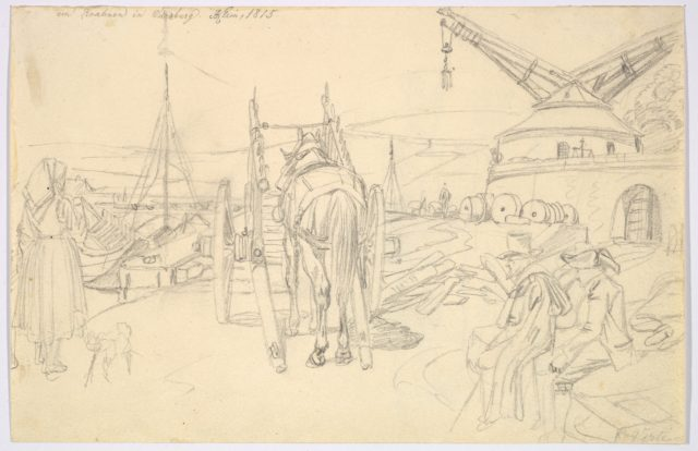 View of the Alter Kranen in Würzburg; verso: Study of Three Soldiers and Two More Figures