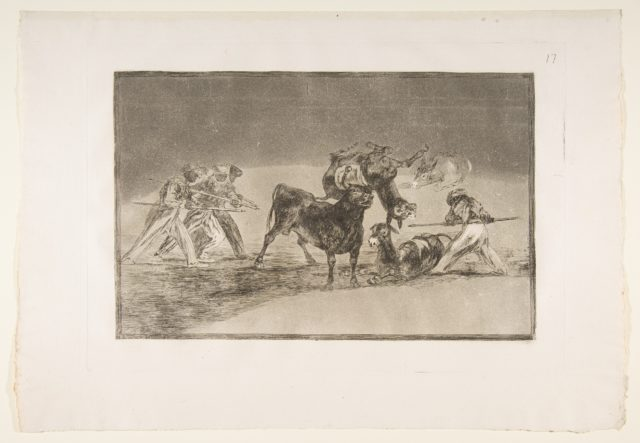 Plate 17 of the 'Tauromaquia': The Moors use donkeys as a barrier to defend themselves against the bull whose horns have been tipped with balls.