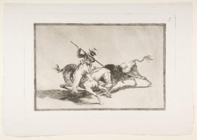 Plate 5 from 'The Tauromaquia': The spirited Moor Gazul is the first to spear bulls according to the rules