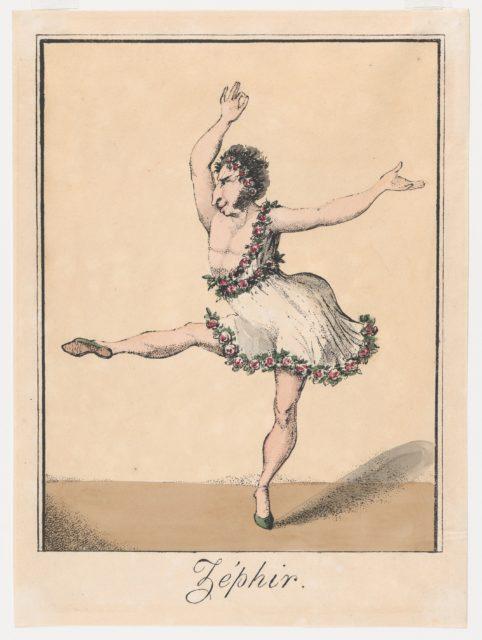 Zéphir, caricature of the male ballerina Auguste Vestris