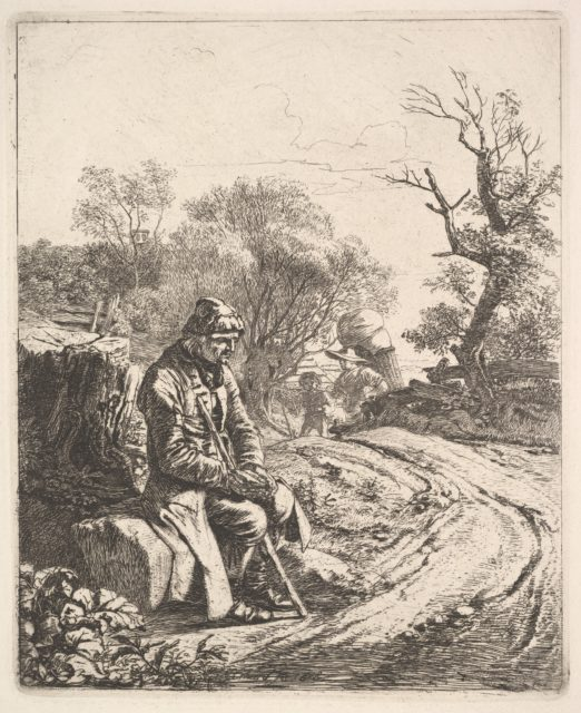An Old Man Sitting on the Roadside