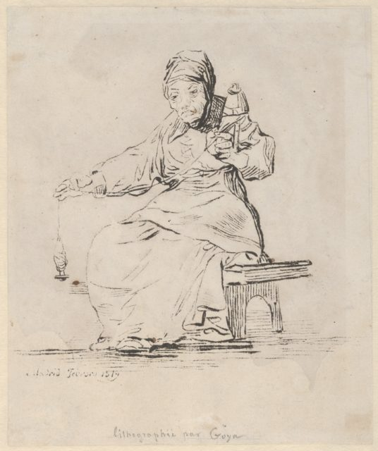 An old woman spinning, spindle in her right hand, distaff in her left