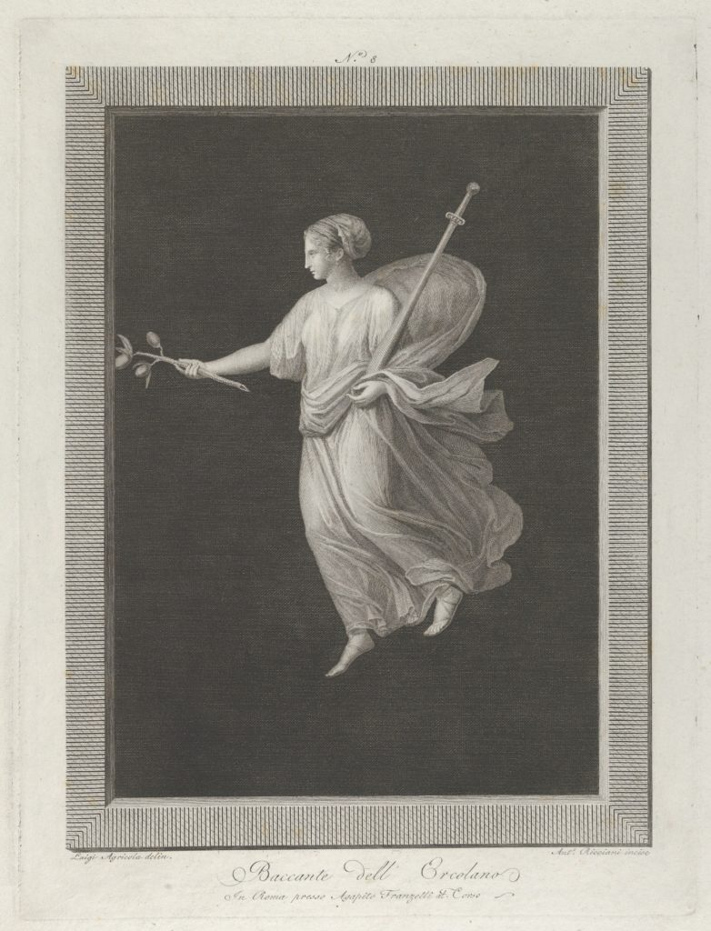 A bacchante holding a sword in her left arm and a branch with fruit in her right hand, set against a black background inside a rectangular frame