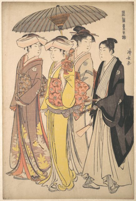 A Lady from a Samurai Household with Three Attendants, from the series A Brocade of Eastern Manners (Fūzoku Azuma no nishiki)