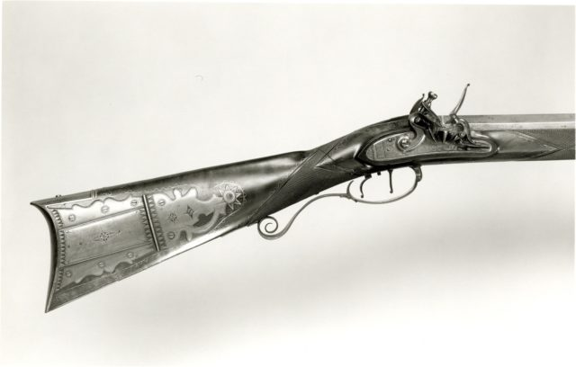 Flintlock Rifle with Case and Bullet Mould Made for Colonel Jacob Bates (1746–1836)