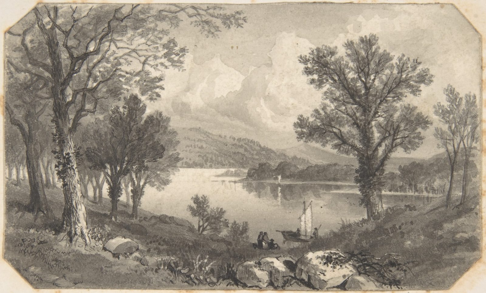 View of a lake or river with a sailboat