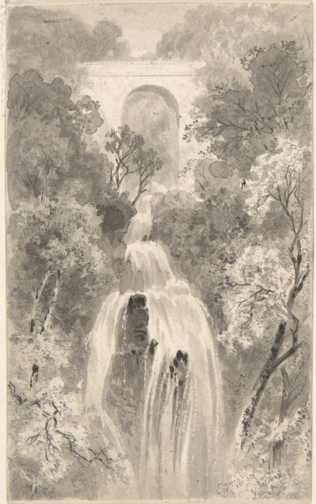 View of a Waterfall (recto); Landscape Study (verso)