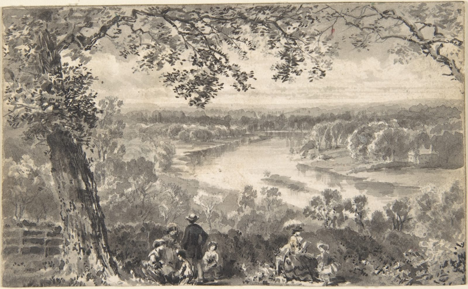 View of the Thames with Figures in Foreground