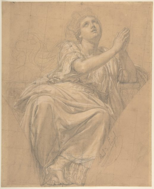 Allegorical Figure of the City of Piacenza, for a Pendentive in the Chapel of Saint-Roch, Church of Saint-Sulpice, Paris (recto); Studies for the Same Figure (verso)