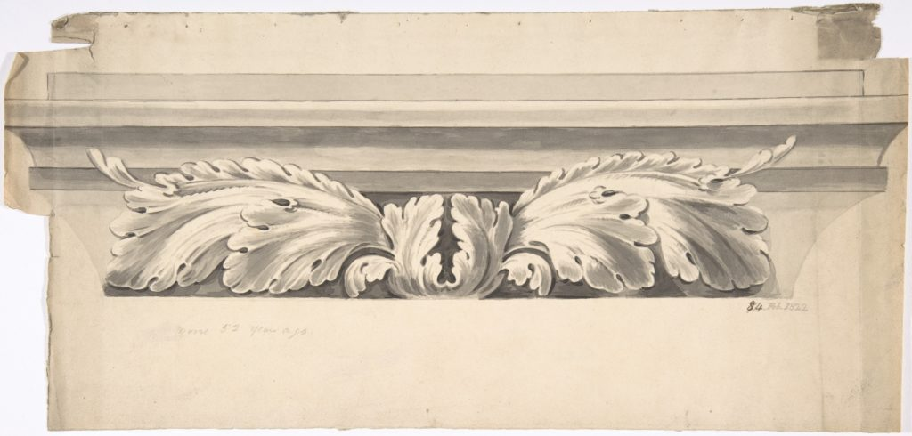 Design for an Entablature Carved with Acanthus