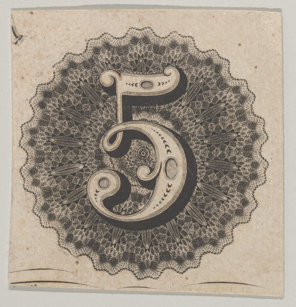 Banknote motif: number 5 against a circular panel of lace-like lathe work with a scalloped edge