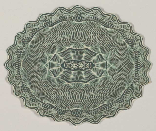 Banknote motif: oval of lathe work ornament with a wavy edge