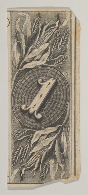 Banknote motif: the number 1 against an oval of woven lathe work, inside a rectangle decorated with grain