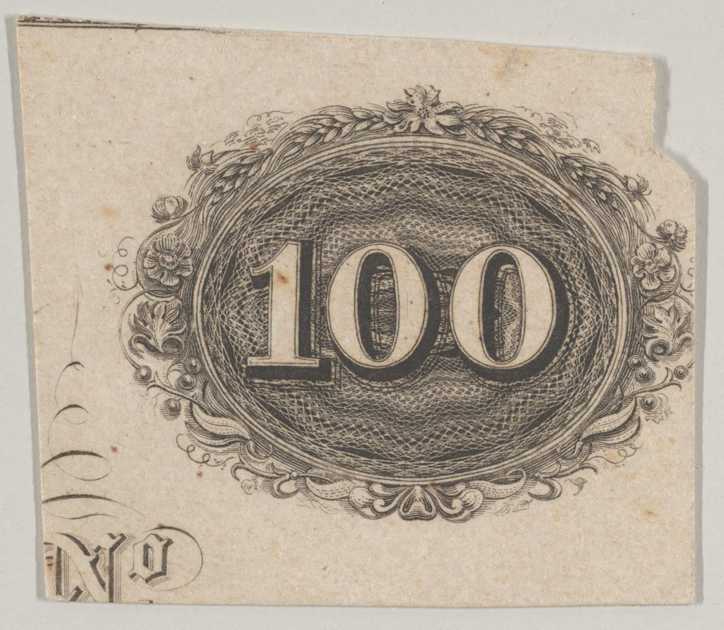 Banknote motif: the number 100 against an ornamental lathe work oval resembling woven rope with a border of grain, flowers and berries