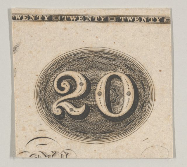 Banknote motif: the number 20 against an ornamental lathe work oval resembling woven rope