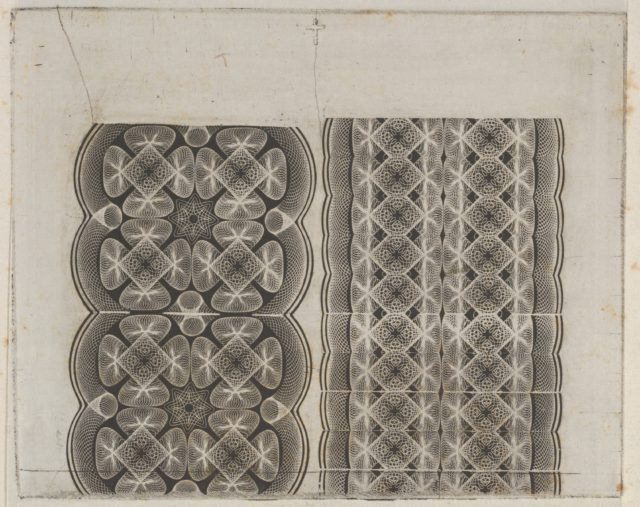 Banknote motifs: two bands of lace-like lathe work ornament