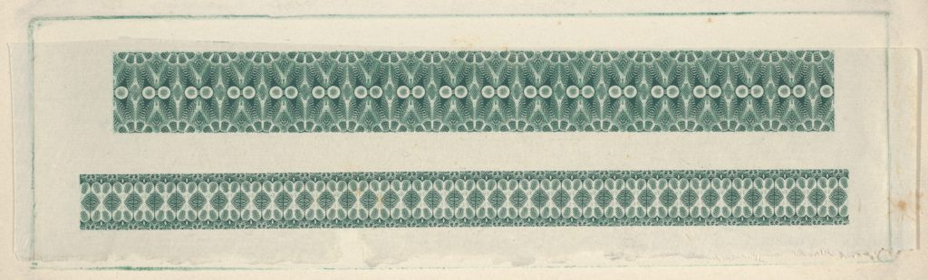 Banknote motifs: two bands of lathe work ornament