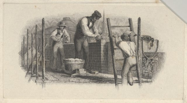 Banknote vignette showing three men on a scaffold laying a brick wall