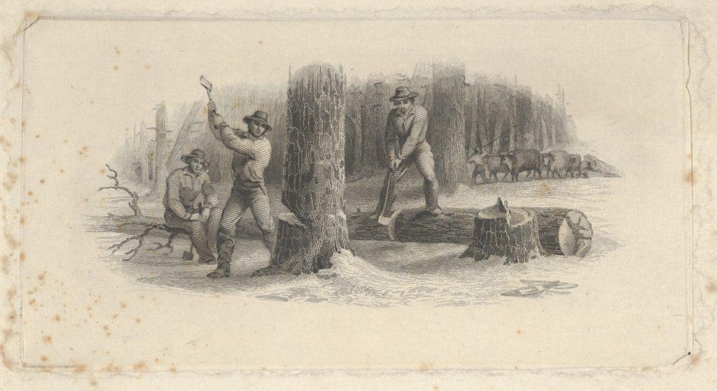 Banknote vignette showing woodsmen felling trees in a snowy forest