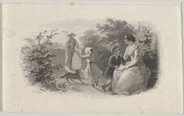 Banknote vignette with a family in a garden