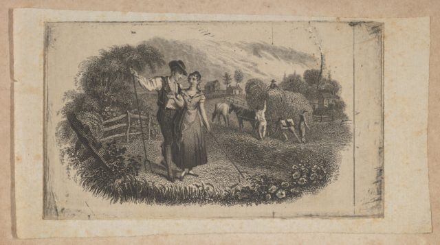 Banknote vignette with haymakers symbolizing rural industry