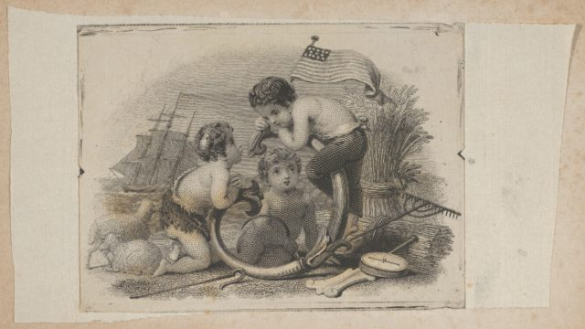 Banknote vignette with three putti as a shepherd, a farmer, and a sailor