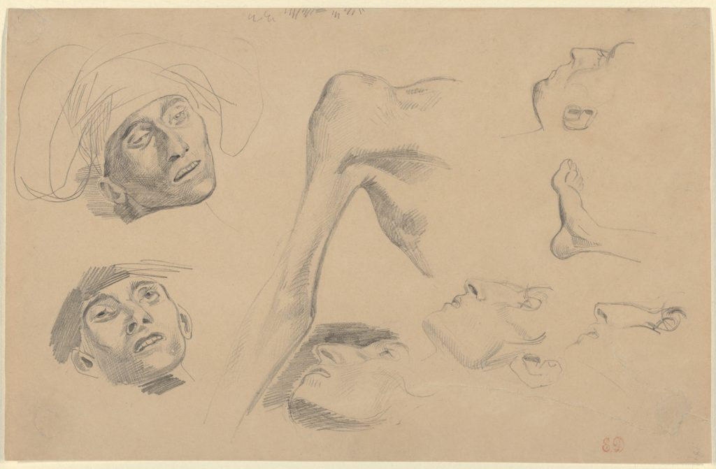 """Head, Shoulder, and Foot, studies for """"Scenes from the Chios Massacres"""""""