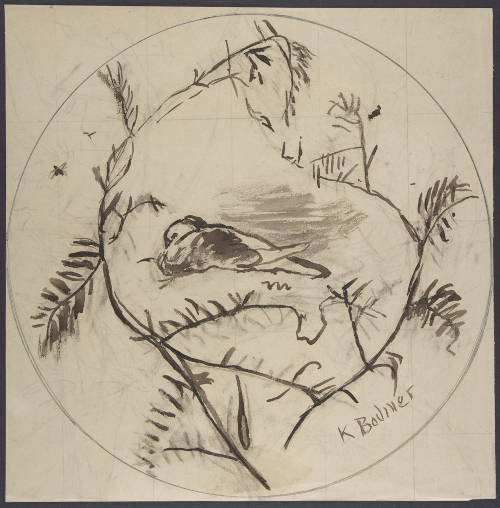 Design for a Plate Decorated with a Bird and Plant Motifs