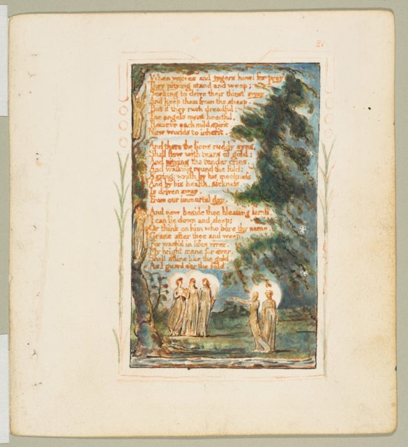 Songs of Innocence and of Experience: Night (second plate): When wolves and tygers howl for prey