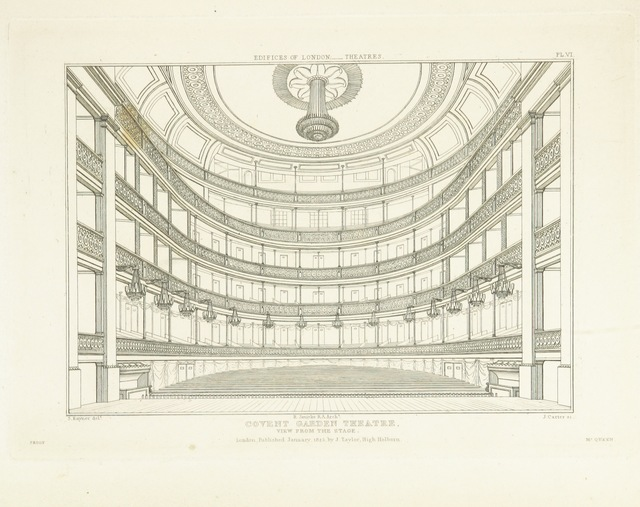 """Covent Garden Theatre from """"History and Illustrations of the London Theatres: comprising an account of the origin and progress of the drama in England; with historical and descriptive accounts of the Theatres Royal, Covent Garden, Drury Lane, Haymarket, English Opera House, and Royal Amphitheatre ... Illustrated with engravings"""""""