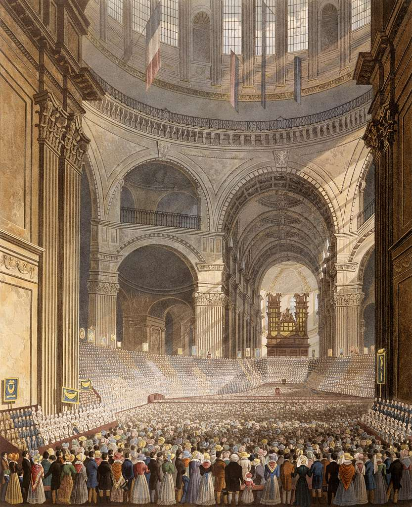 Havell, Robert (junior) - watercolour - The Anniversary Meeting of the Charity Children in the Cathedral of St. Paul - Google Art Project