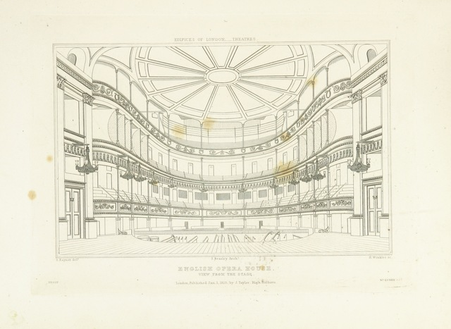 """interior from """"History and Illustrations of the London Theatres: comprising an account of the origin and progress of the drama in England; with historical and descriptive accounts of the Theatres Royal, Covent Garden, Drury Lane, Haymarket, English Opera House, and Royal Amphitheatre ... Illustrated with engravings"""""""