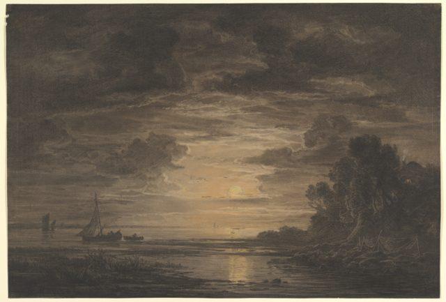 The River Elbe Downstream of Hamburg by Moonlight