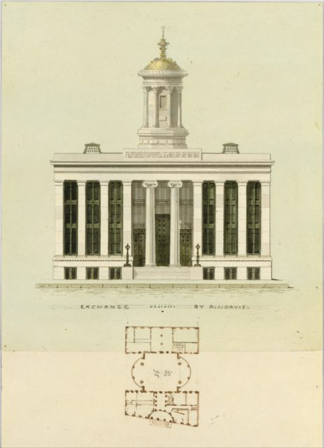 Façade Design and Old Plan for the First Merchant's Exchange, New York  (unexecuted; front elevation and plan)