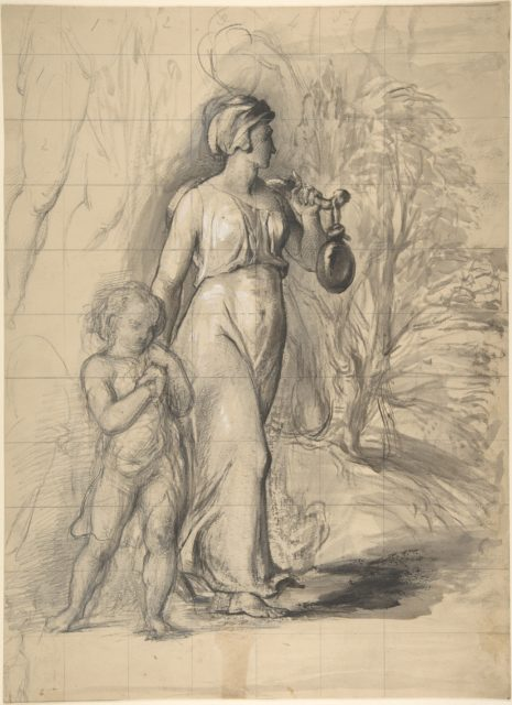 Hagar and Ishmael in the Wilderness (recto); Two Portrait Studies of the Artist's Wife, and a Study of a Leg and Torso (verso)