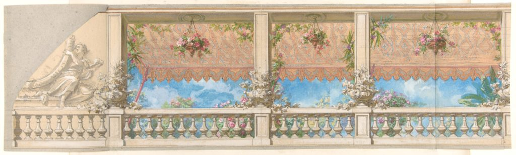 An Outdoor Balustrade Overhung with an Awning in Moorish Style