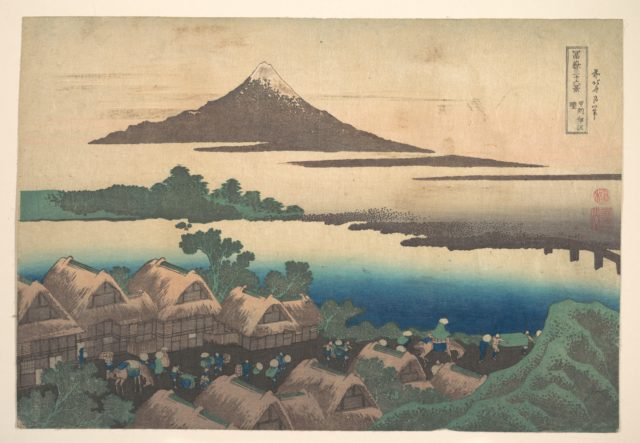 Dawn at Isawa in Kai Province (Kōshū Isawa no akatsuki), from the series Thirty-six Views of Mount Fuji (Fugaku sanjūrokkei)