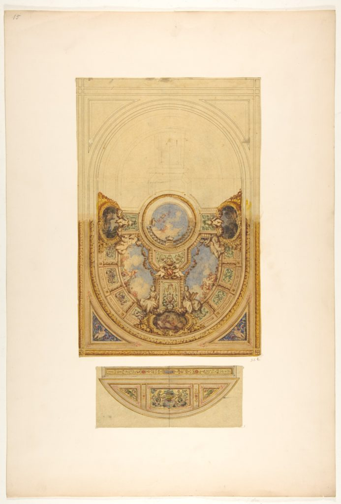 Design for the decoration of an oval ceiling with putti and garlands; with a detail of a lunette