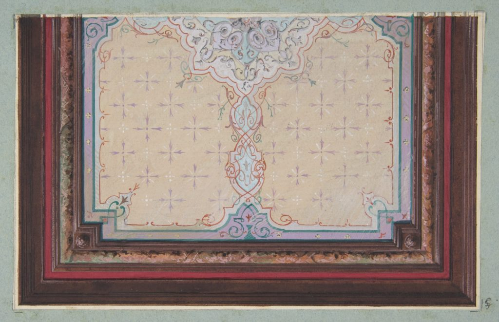 Design for the painted decoration of a ceiling with bursts and filagree