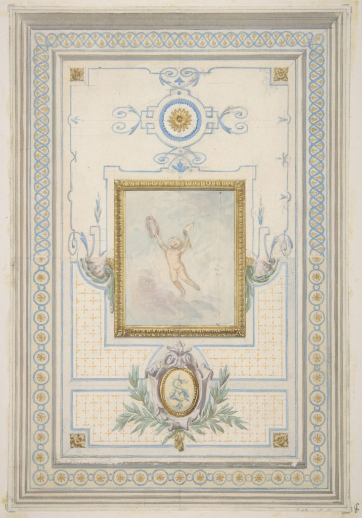 Design for the painted decoration of a ceiling with the monogram:  AS