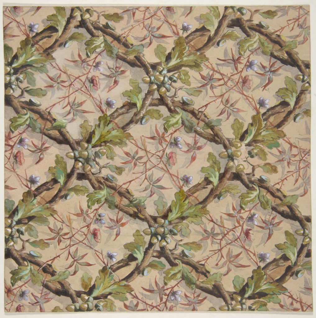 Design for wallpaper featuring oak leaves, acorns, and intertwined twigs