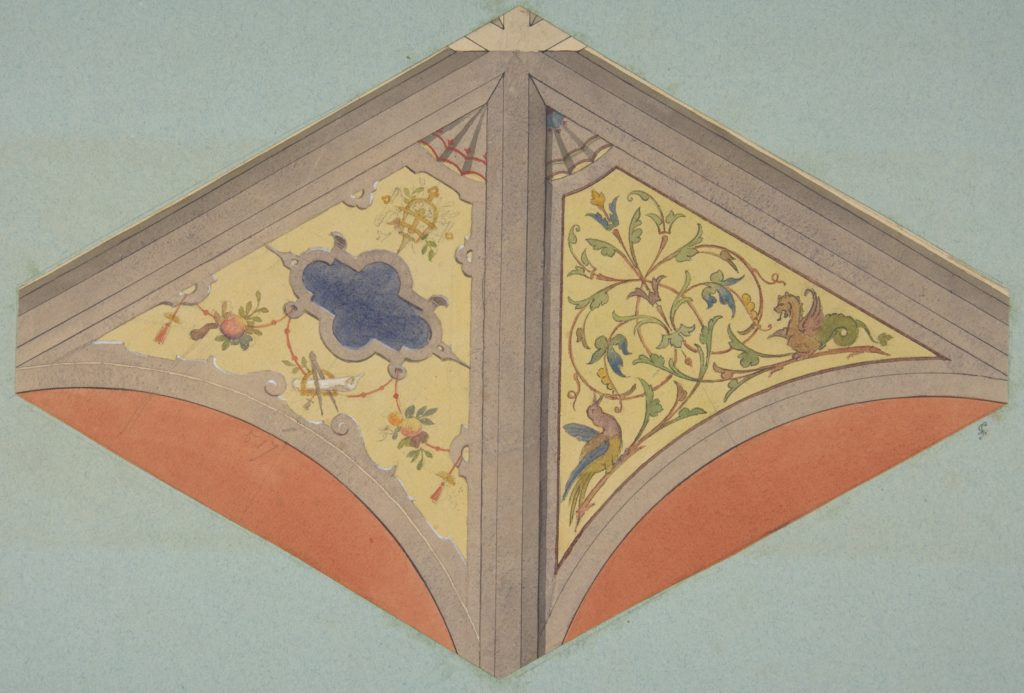 Designs for the painted decoration of a vaulted ceiling