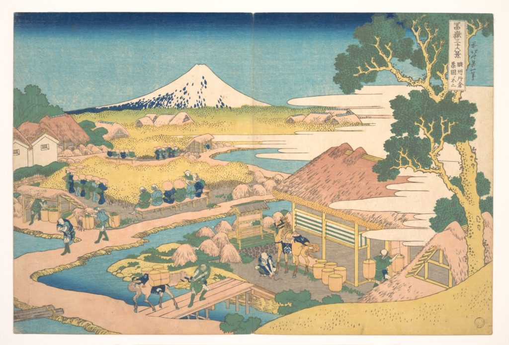 Fuji from the Katakura Tea Fields in Suruga (Sunshū Katakura chaen no Fuji), from the series Thirty-six Views of Mount Fuji (Fugaku sanjūrokkei)