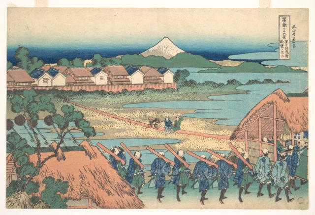 Fuji Seen in the Distance from Senju Pleasure Quarter (Senju kagai yori chōbō no Fuji), from the series Thirty-six Views of Mount Fuji (Fugaku sanjūrokkei)