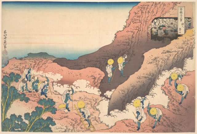 Groups of Mountain Climbers (Shojin tozan), from the series Thirty-six Views of Mount Fuji (Fugaku sanjūrokkei)