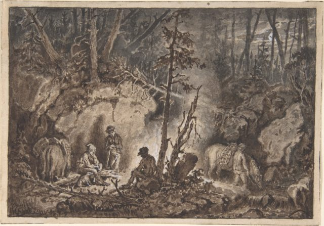 Hunters resting in a forest at night