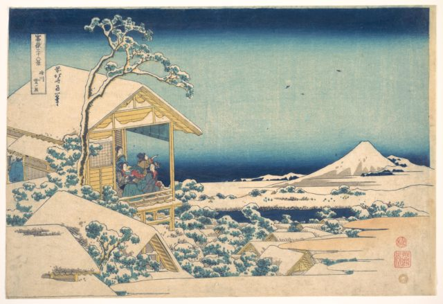 Morning after the Snow at Koishikawa in Edo (Koishikawa yuki no ashita),  from the series Thirty-six Views of Mount Fuji (Fugaku sanjūrokkei)