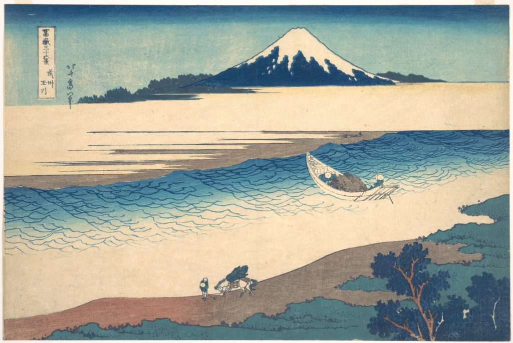 Tama River in Musashi Province (Bushū Tamagawa), from the series Thirty-six Views of Mount Fuji (Fugaku sanjūrokkei)