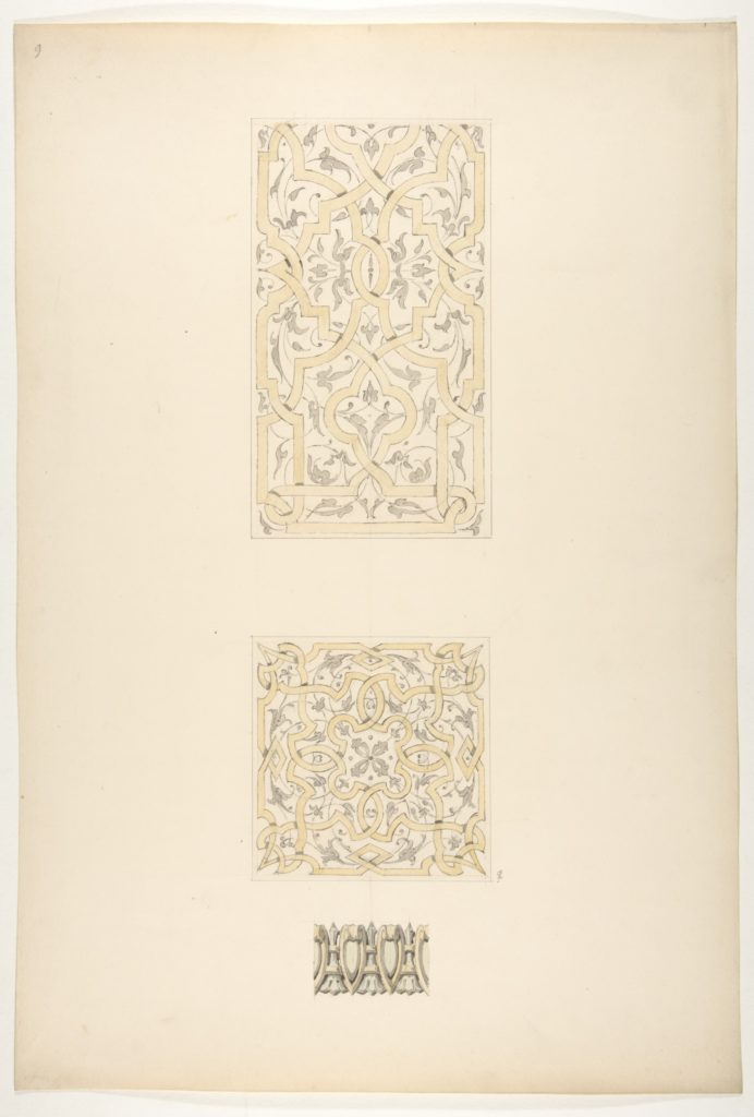 Three designs for decorative motifs in strapwork, rinceaux, and egg-and-dart patterns