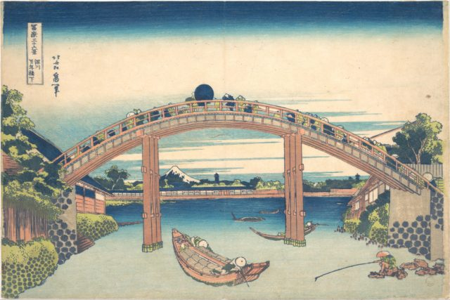 Under the Mannen Bridge at Fukagawa (Fukagawa Mannenbashi shita), from the series Thirty-six Views of Mount Fuji (Fugaku sanjūrokkei)